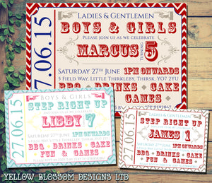Circus Ticket Boys & Girls Joint Party Invitations - Children's Kids Child Birthday Invites Boy Girl Joint Party Twins Unisex Printed ~ QUANTITY DISCOUNT AVAILABLE - YellowBlossomDesignsLtd