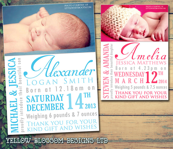 Wordart Thank You Message Note New Born Baby Birth Announcement Photo Cards Personalised Bespoke