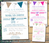 Poster Bunting Pink Blue - Christening Invitations Joint Boy Girl Unisex Twins Baptism Naming Day Ceremony Celebration Party ~ QUANTITY DISCOUNT AVAILABLE