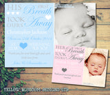 First Breath Took Ours Away His Her New Born Baby Birth Announcement Photo Cards Personalised Bespoke ~ QUANTITY DISCOUNT AVAILABLE
