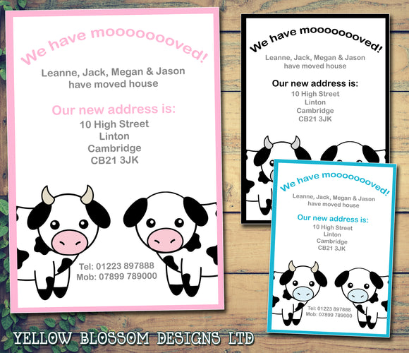We Have Mooooooved Cow Print Personalised Moving House Announcement Cards ~ QUANTITY DISCOUNT AVAILABLE