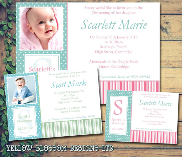 Classic Photo - Christening Invitations Boy Girl Unisex Joint Twins Baptism Naming Day Ceremony Celebration Party ~ QUANTITY DISCOUNT AVAILABLE - YellowBlossomDesignsLtd