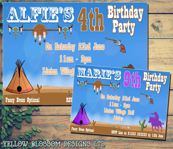 Children's Kids Child Birthday Invitations Boy Girl Joint Party Twins Unisex Printed - Cowboy Cowgirl Yeehaw Wild West ~ QUANTITY DISCOUNT AVAILABLE