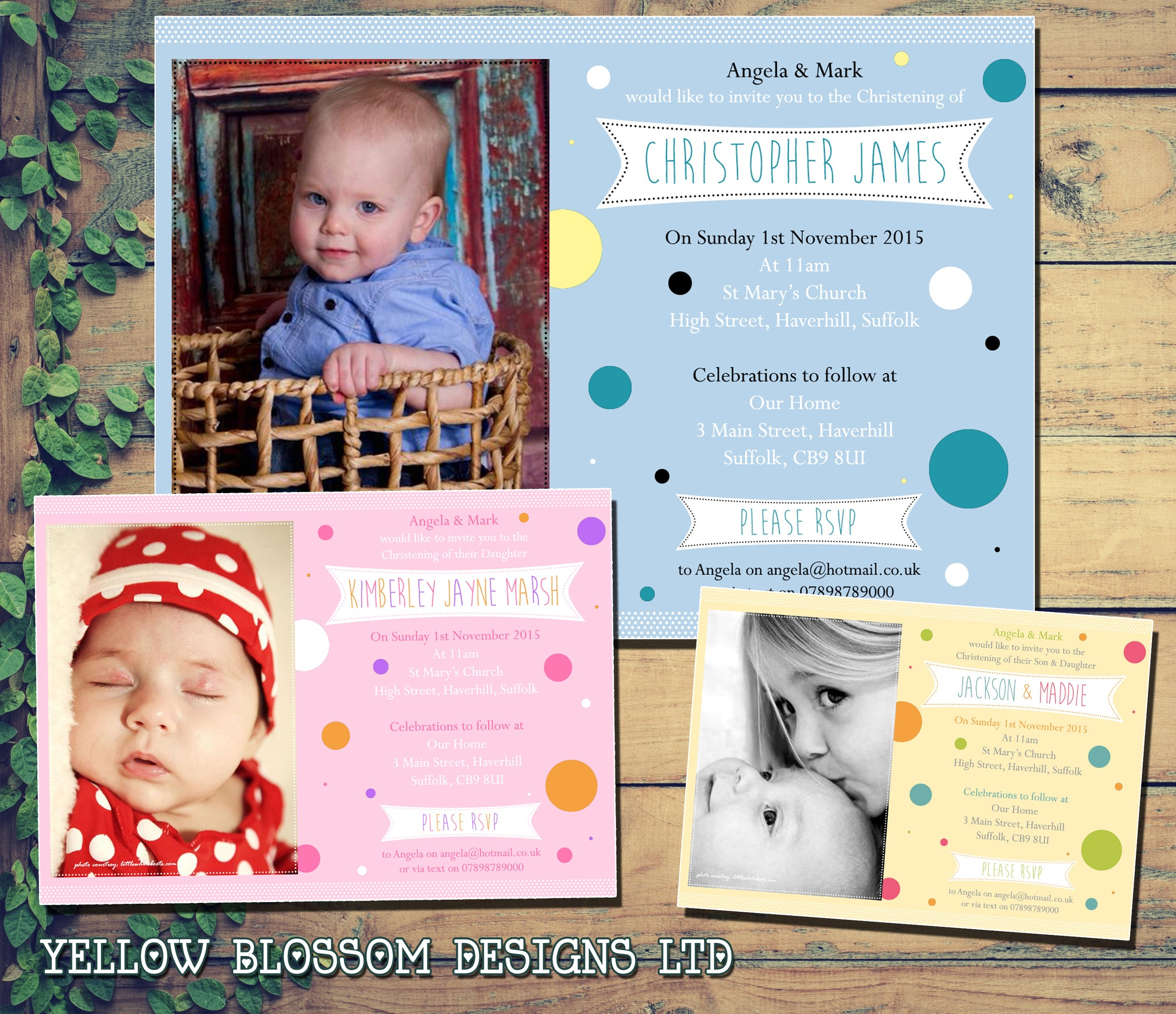 Personalised Invitations • Christening ~ Baptism ~ Naming Day • Girl//Boy Polka