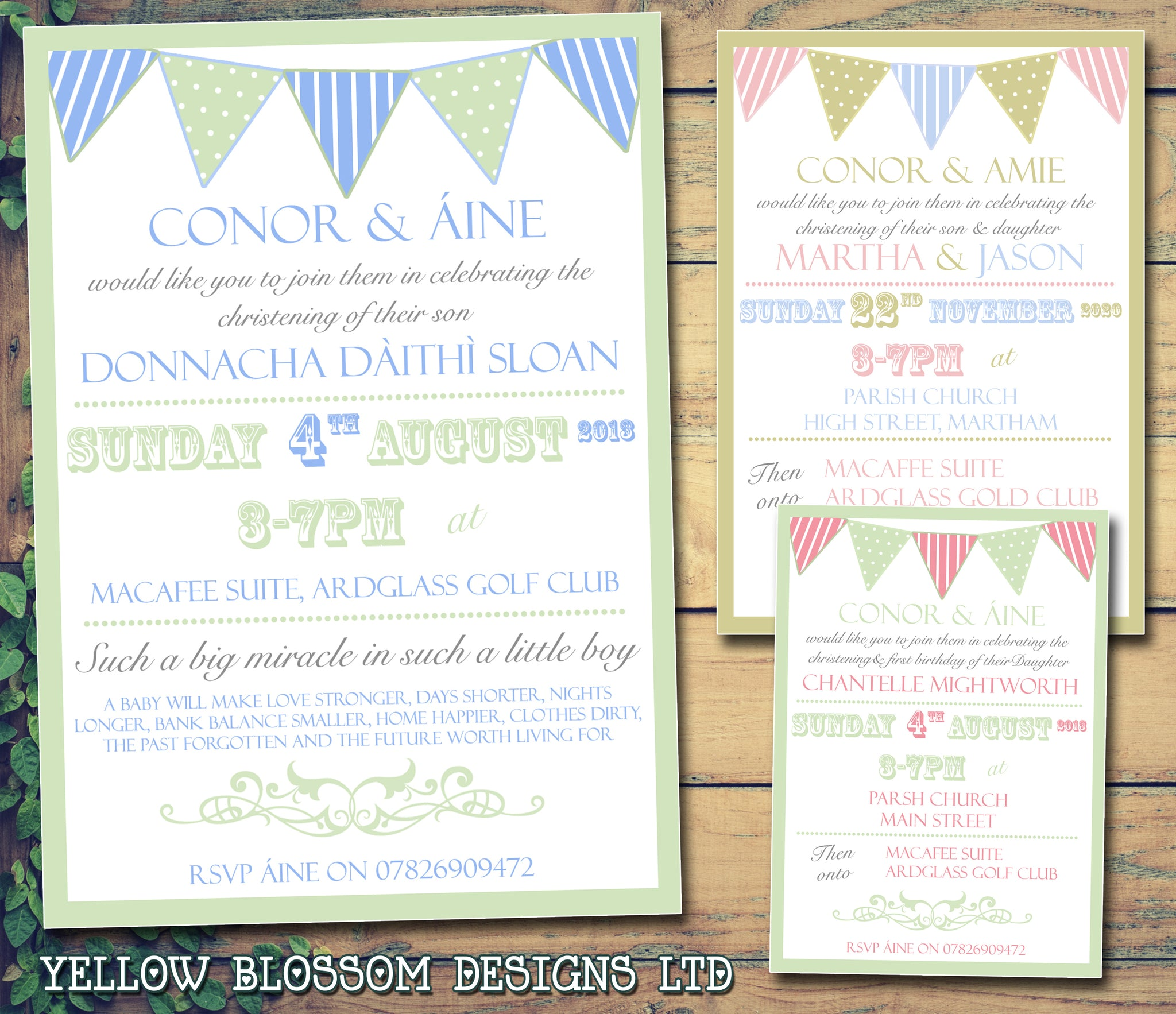 Spots & Stripes Bunting Carnival - Christening Invitations Joint Boy ...