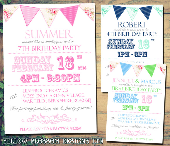 Shabby Chic Bunting - Children's Kids Child Birthday Invitations Boy Girl Joint Party Twins Unisex Printed ~ QUANTITY DISCOUNT AVAILABLE