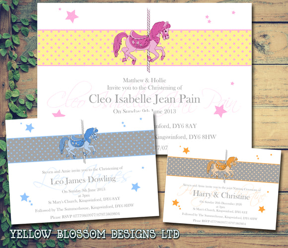 Rocking Horse Joint Celebration Party - Christening Invitations Boy Girl Unisex Twins Baptism Naming Day Ceremony Celebration Party ~ QUANTITY DISCOUNT AVAILABLE