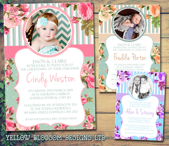 Roses Rustic Vintage Joint Celebration Party - Christening Invitations Boy Girl Unisex Twins Baptism Naming Day Ceremony Celebration Party ~ QUANTITY DISCOUNT AVAILABLE