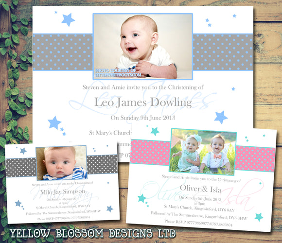 Stars Spots Polka Photo Party - Christening Invitations Joint Boy Girl Unisex Twins Baptism Naming Day Ceremony Celebration Party ~ QUANTITY DISCOUNT AVAILABLE