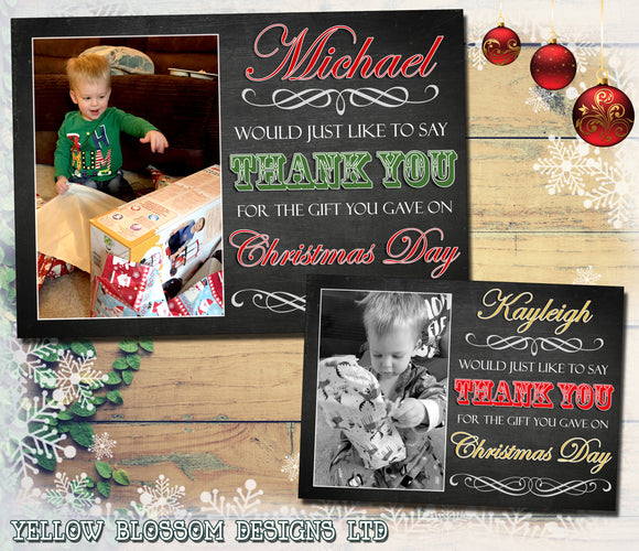 Vintage Shabby Chic Personalised Folded Flat Christmas Thank You Photo Cards Family Child Kids ~ QUANTITY DISCOUNT AVAILABLE