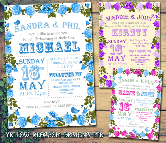 Roses Border Cute - Christening Invitations Joint Boy Girl Unisex Twins Baptism Naming Day Ceremony Celebration Party ~ QUANTITY DISCOUNT AVAILABLE