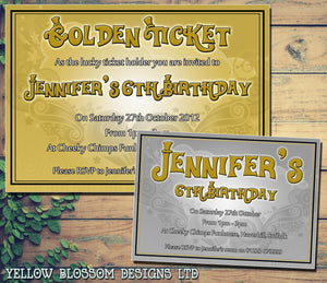 Golden Silver Ticket - Children's Kids Child Birthday Invitations Boy Girl Joint Party Twins Unisex Printed ~ QUANTITY DISCOUNT AVAILABLE