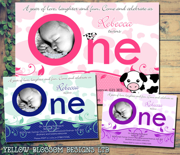 ONE Cow Print First 1st Baby Invitations - Children's Kids Child Birthday Invites Joint Party Unisex Printed ~ QUANTITY DISCOUNT AVAILABLE