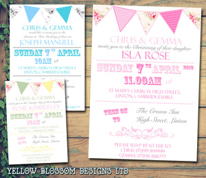 Bunting Vintage Joint Party - Christening Invitations Boy Girl Unisex Twins Baptism Naming Day Ceremony Celebration Party ~ QUANTITY DISCOUNT AVAILABLE - YellowBlossomDesignsLtd