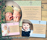 Religious Cross Photo - Christening Invitations Boy Girl Unisex Twins Baptism Naming Day Ceremony Celebration Party ~ QUANTITY DISCOUNT AVAILABLE