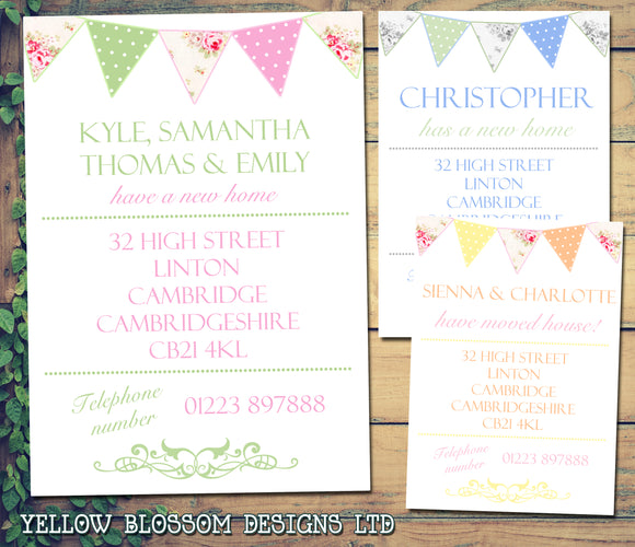 Carnival Poster Bunting Shabby Chic Personalised Moving House Announcement Cards ~ QUANTITY DISCOUNT AVAILABLE - YellowBlossomDesignsLtd