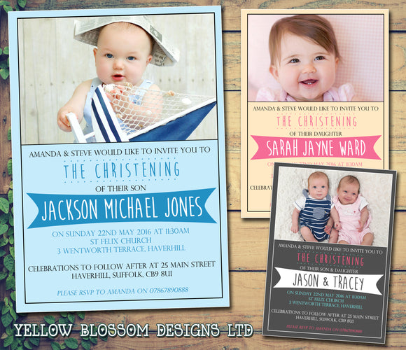 Christening Invitations Boy Girl Unisex Joint Twins Baptism Naming Day Ceremony Celebration Party ~ QUANTITY DISCOUNT AVAILABLE - YellowBlossomDesignsLtd