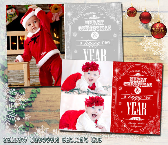 Elegant Design Personalised Folded Flat Christmas Photo Cards Family Child Kids ~ QUANTITY DISCOUNT AVAILABLE