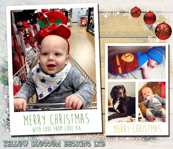 Elegant Classic Simple Personalised Folded Flat Christmas Photo Cards Family Child Kids ~ QUANTITY DISCOUNT AVAILABLE