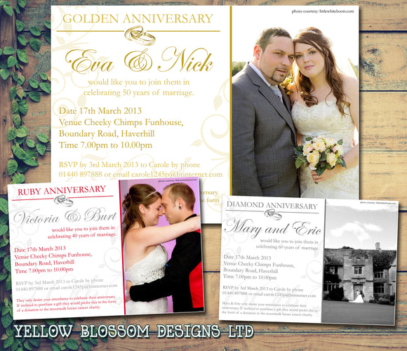 Wedding Anniversary Party Invitations - Gold Silver Ruby