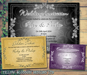 Golden Ticket Purple Gold Black White Wedding Day Evening Invitations Personalised Bespoke ~ QUANTITY DISCOUNT AVAILABLE