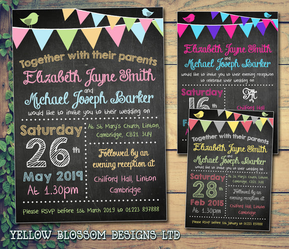 Vintage Shabby Chic Bunting Festival Wedding Day Evening Invitations Personalised Bespoke ~ QUANTITY DISCOUNT AVAILABLE