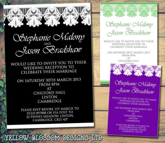 Lace Wedding Day Evening Invitations Personalised ~ QUANTITY DISCOUNT AVAILABLE
