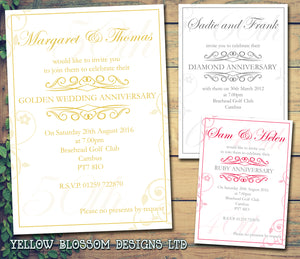 Anniversary Invitations Gold Silver Diamond Ruby 40th 50th 60th Wedding Party Personalised Bespoke ~ QUANTITY DISCOUNT AVAILABLE