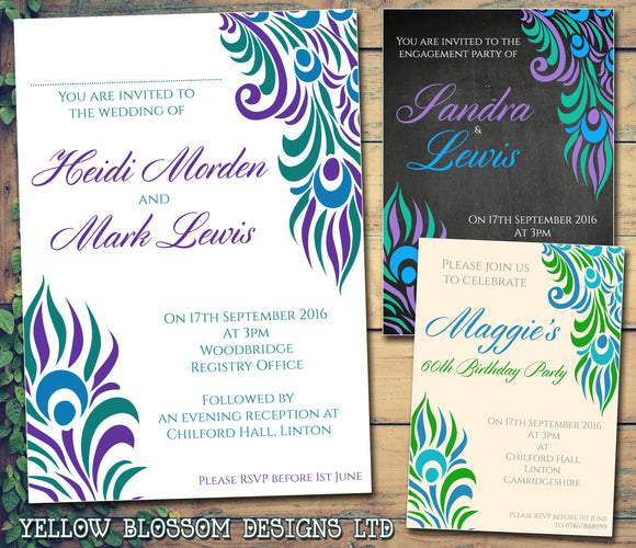Peacock Feather Effective Wedding Day Evening Invitations Personalised Bespoke