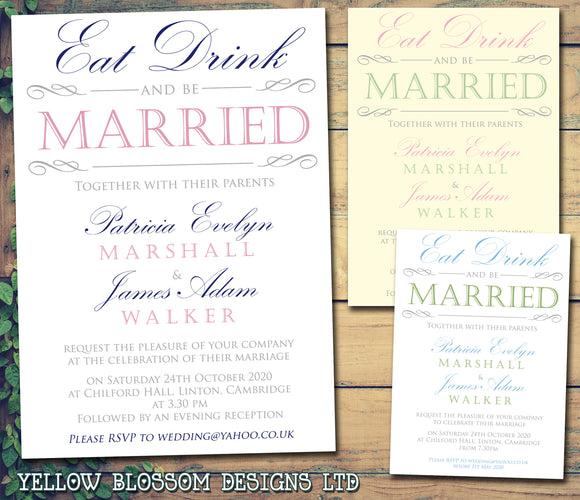 Eat Drink And Be Married Vintage Wedding Day Evening Invitations Personalised Bespoke ~ QUANTITY DISCOUNT AVAILABLE