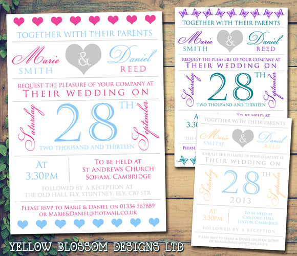 Cute Hearts Poster Wedding Day Evening InvitesPersonalised  ~ QUANTITY DISCOUNT AVAILABLE