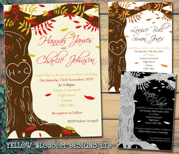 Tree Etching Woodland Autumn Wedding Day Evening Invitations Personalised Bespoke ~ QUANTITY DISCOUNT AVAILABLE