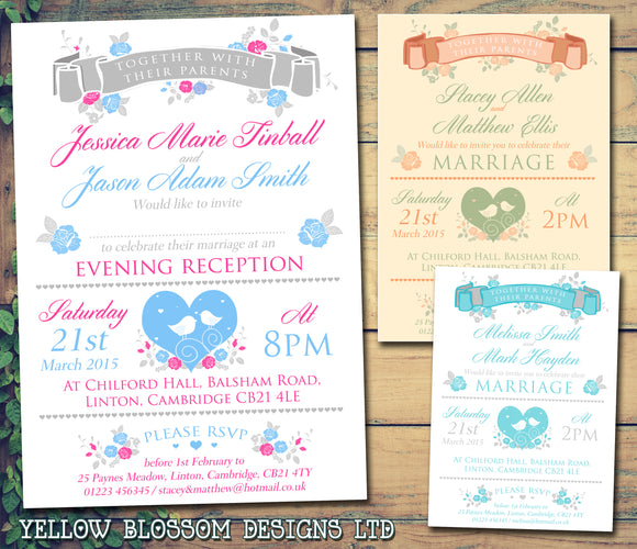 Garden Party Vintage Wedding Day Evening Invitations Personalised Bespoke ~ QUANTITY DISCOUNT AVAILABLE