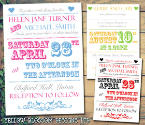 Vintage Pink Green Wedding Invitations Personalised ~ QUANTITY DISCOUNT AVAILABLE