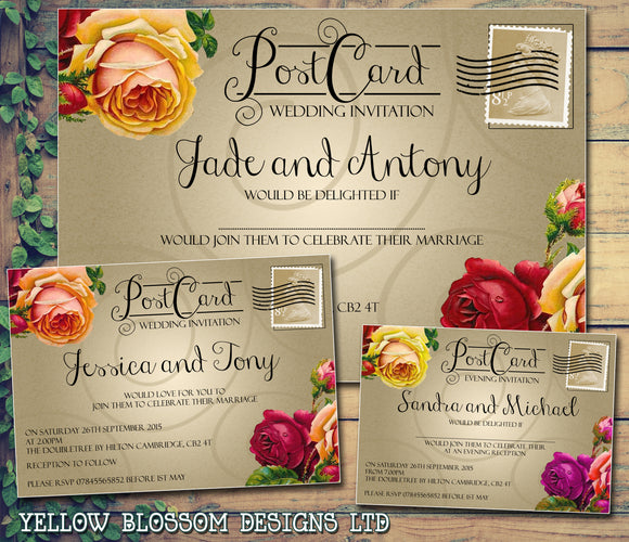 Postcard Style Roses Red Pink Peach Wedding Day Evening Invitations Personalised Bespoke ~ QUANTITY DISCOUNT AVAILABLE