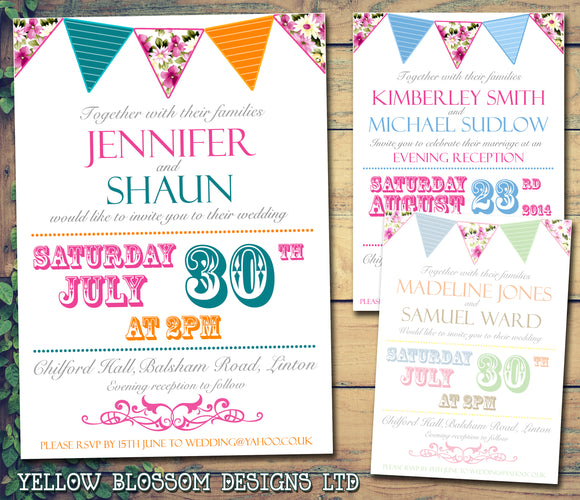 Shabby Chic Vintage Bunting Poster Carnival Wedding Day Evening Invitations Personalised Bespoke ~ QUANTITY DISCOUNT AVAILABLE