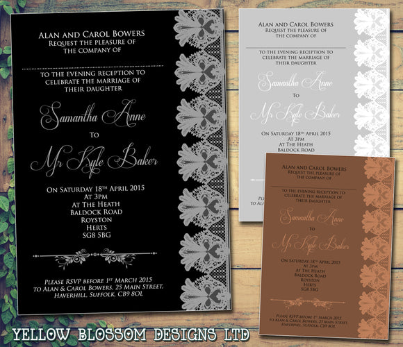 Classic Lace Beautiful Simple Effective Wedding Day Evening Invitations Personalised Bespoke ~ QUANTITY DISCOUNT AVAILABLE - YellowBlossomDesignsLtd
