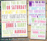 Poster Style Carnival Wedding Invitations Personalised ~ QUANTITY DISCOUNT AVAILABLE