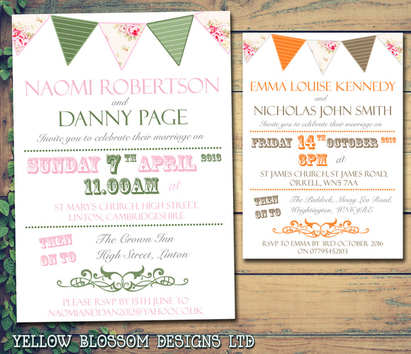 Shabby Chic Bunting Green Pink Orange Brown Wedding Day Evening Invitations Personalised Bespoke ~ QUANTITY DISCOUNT AVAILABLE
