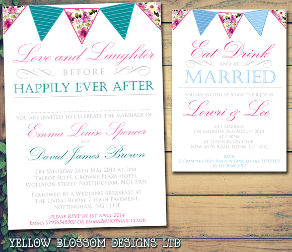 Love And Laughter Before Happily Ever After Wedding Day Evening Invitations Personalised Bespoke ~ QUANTITY DISCOUNT AVAILABLE