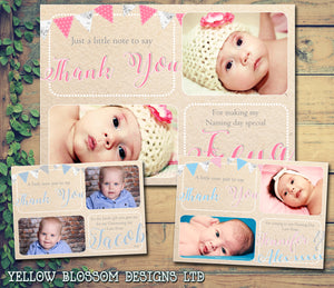 Rustic Vintage Bunting Shabby Chic Joint Boy Girl Twins Photo Personalised Thank You Cards Christening Baptism Naming Day Party Celebrations ~ QUANTITY DISCOUNT AVAILABLE