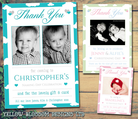 Cloudy Border Thank You Card With Photos Blue Pink Green