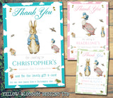 Peter Rabbit Jemima Puddleduck Joint Boy Girl Twins Photo Personalised Thank You Cards Christening Baptism Naming Day Party Celebrations ~ QUANTITY DISCOUNT AVAILABLE