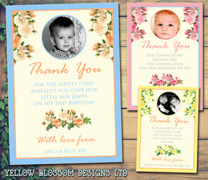 Flowers Joint Boy Girl Twins Photo Personalised Thank You Cards Christening Baptism Naming Day Party Celebrations ~ QUANTITY DISCOUNT AVAILABLE