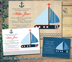 Boat Nautical Celebration Party - Christening Invitations Joint Boy Girl Unisex Twins Baptism Naming Day Ceremony Celebration Party ~ QUANTITY DISCOUNT AVAILABLE - YellowBlossomDesignsLtd
