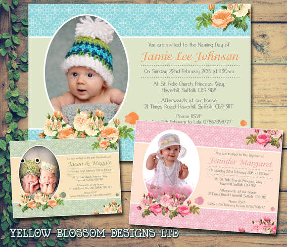 Roses Vintage Classic Joint Party - Christening Invitations Boy Girl Unisex Twins Baptism Naming Day Ceremony Celebration Party ~ QUANTITY DISCOUNT AVAILABLE