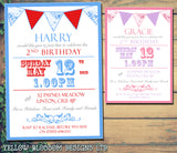 Poster Carnival Circus Bunting - Boy Girl Unisex Joint Birthday Invites Boy Girl Joint Party Twins Unisex Printed ~ QUANTITY DISCOUNT AVAILABLE