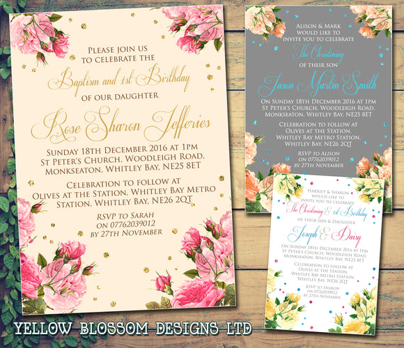 Vintage Classic Roses - Christening Invitations Joint Boy Girl Unisex Twins Baptism Naming Day Ceremony Celebration Party ~ QUANTITY DISCOUNT AVAILABLE