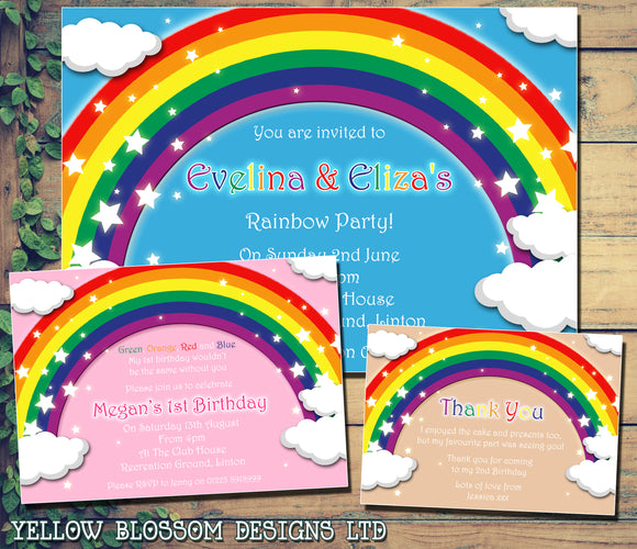 Rainbow Colourful - Children's Kids Child Birthday Invitations Boy Girl Joint Party Twins Unisex Printed ~ QUANTITY DISCOUNT AVAILABLE