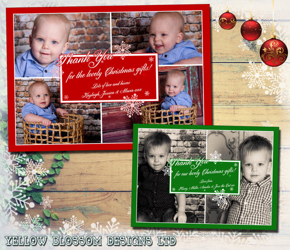 Montage Of Photos Personalised Folded Flat Christmas Thank You Photo Cards Family Child Kids ~ QUANTITY DISCOUNT AVAILABLE